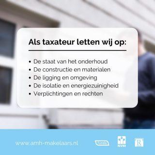 Als beëdigd taxateur taxeren wij er niet zomaar op los. Wij hanteren strakke richtlijnen, zo letten wij altijd op de volgende factoren:- De staat van onderhoud - De constructie en de gebruikte materialen, en de kwaliteit ervan - De ligging en de omgeving - De mate van isolatie en energiezuinigheid - Verplichtingen en rechten, zoals overpad en erfpachtAlleen zo garanderen wij een brede acceptatie van alle geldverstrekkers in Nederland. Wel zo fijn, toch?